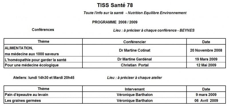 Programme TISS SANTE 78 - saison 2008 - 2009